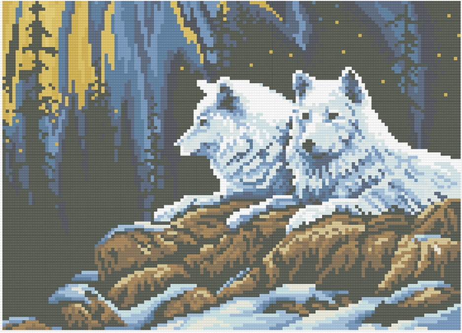 АМП-101. Набір алмазної мозаїки Пара вовків на горі.