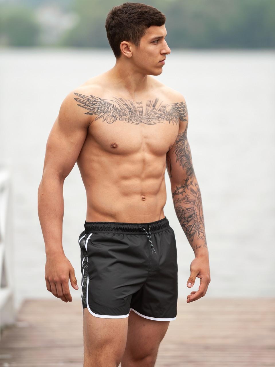Плавательные шорты мужские BeZeT Aqua черные с белым