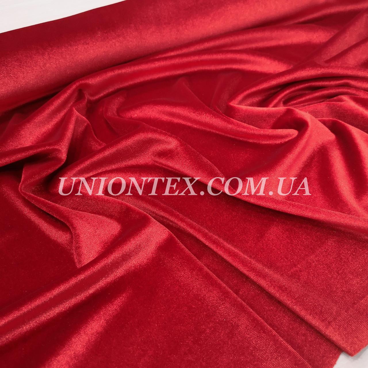 Ткань бархат стрейч красный