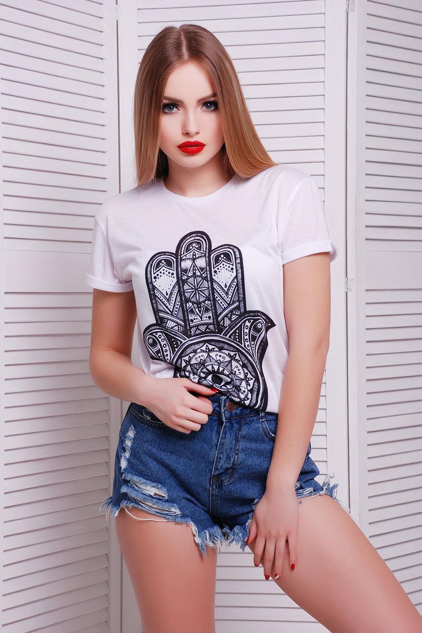 Женская легкая прямого кроя футболка белого цвета с принтом Hamsa футболка Boy-2