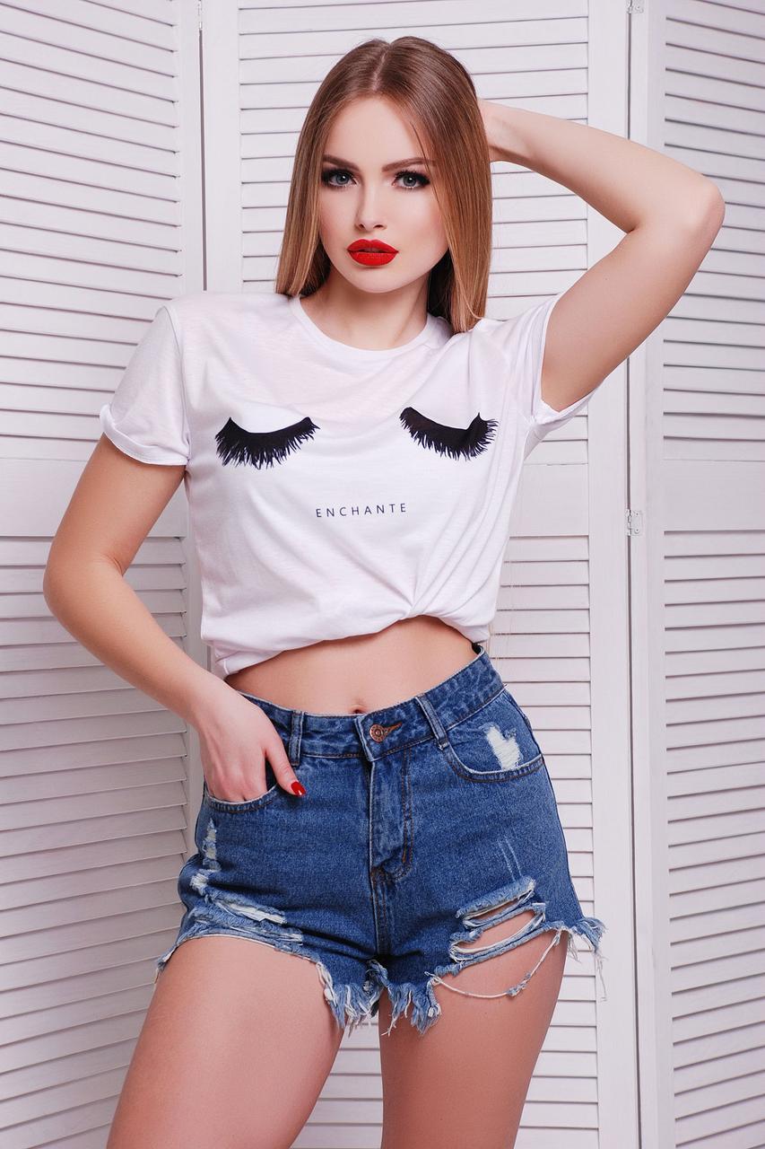 Женская белая летняя футболка с круглым воротником и рукава с отворотами Ресницы футболка Boy-2