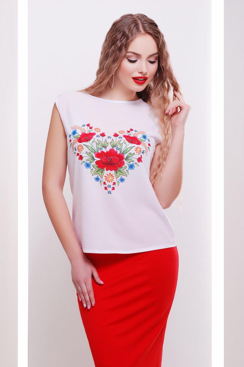 Женская футболка прямого свободного кроя бкз рукавов Цветы-сердце футболка Киви б/р