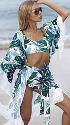Пляжная туника с листьями