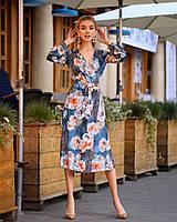 Легкое летнее платье на запах, миди, фото 1