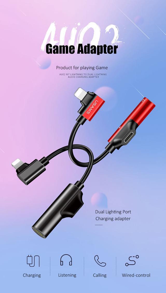 Переходник Lightning Usams iP Male to iP+iP Female AU02 Черный