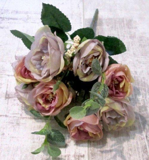 Букет роз 29 см, розово-сиреневый Прованс