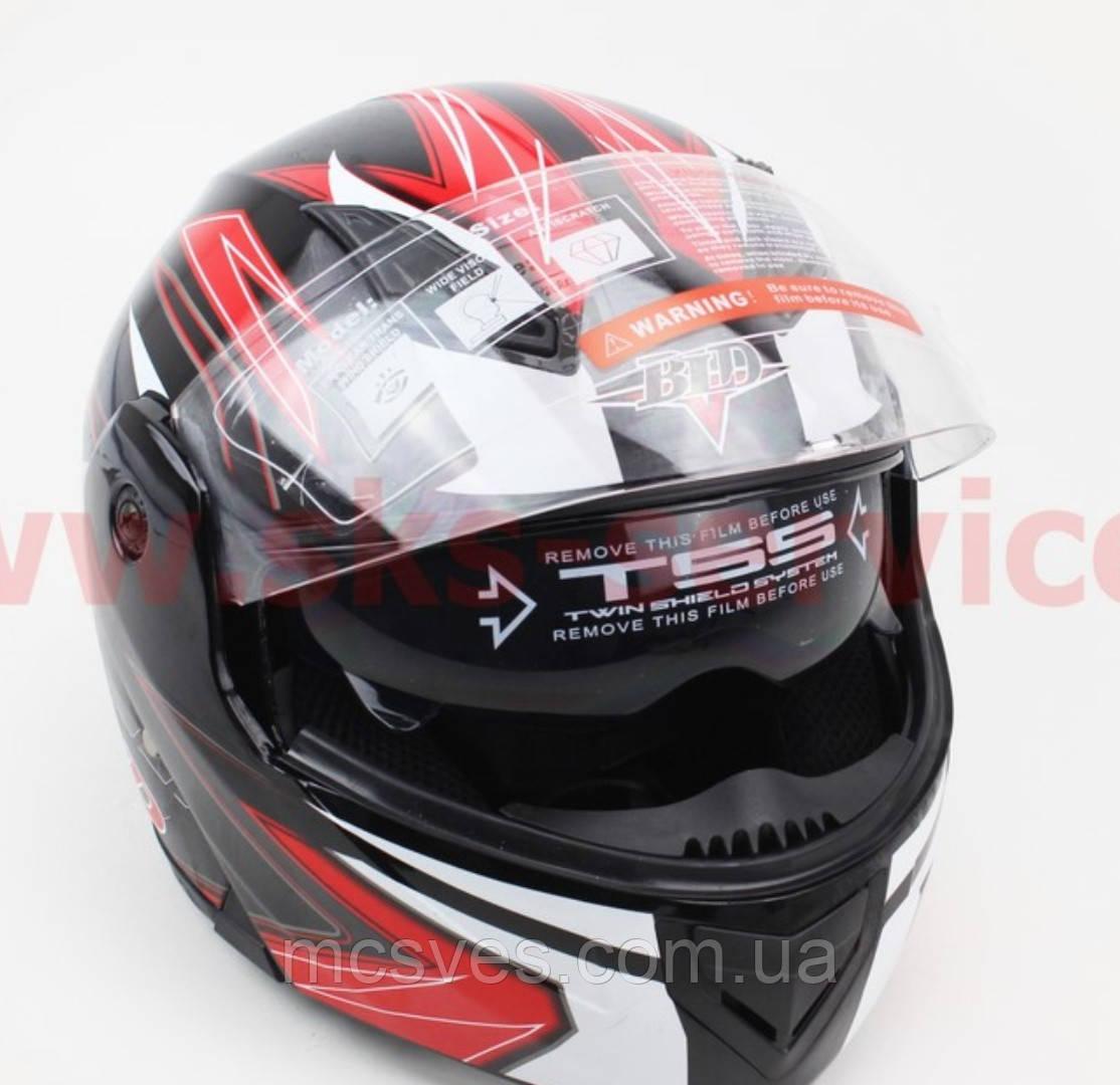 Шлем закрытый с откидным подбородком+очки BLD-157 S- ЧЕРНЫЙ с рисунком красно-белым