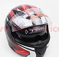 Шлем закрытый с откидным подбородком+очки BLD-157 S- ЧЕРНЫЙ с рисунком красно-белым, фото 1