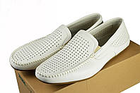 Мужские мокасины перфорированные intershoes 14l453 белые   летние