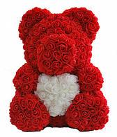 Мишка из искусственных роз в коробке 40 см