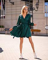 Бестселлер! Изумрудное платье из шелка Армани, декорировано воротником, ширина юбки 285см, на рукавах манжет., фото 1