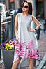 Платье Yavorsky Лада летнее красивое с удлиненной спинкой и ярким принтом из листьев Smy3367
