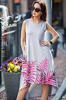 Платье Yavorsky Лада летнее красивое с удлиненной спинкой и ярким принтом из листьев Smy3367, фото 1
