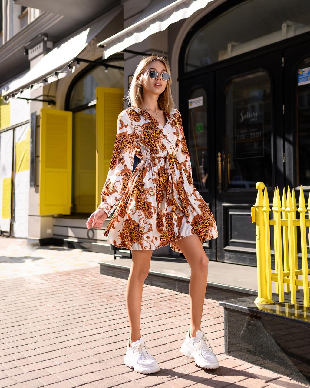 Бестселлер! Нарядное платье из шелка Армани, стильный принт, декорировано воротником, ширина юбки 285см