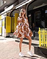 Бестселлер! Нарядное платье из шелка Армани, стильный принт, декорировано воротником, ширина юбки 285см, фото 1