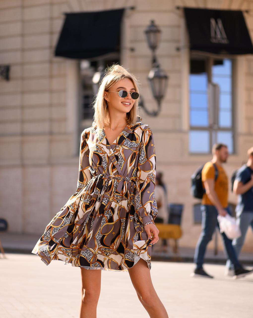 Бестселлер! Стильное платье из шелка Армани, стильный принт, декорировано воротником, ширина юбки 285см