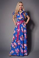 Оригинальное женское платье в яркие цветы