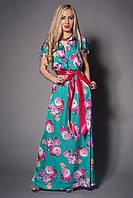 Платье нарядное  декорировано атласным поясом