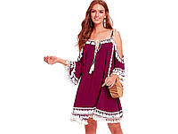 Летние платье с кисточками Shein S Красный