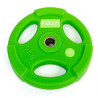 Блины (диски) полиуретановые с хватом и металлической втулкой d-28мм 5кг TA-5336-28-5