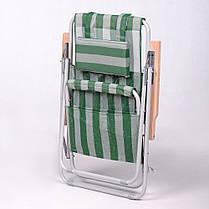 """Кресло-шезлонг """"Ясень"""" d20 мм (текстилен бело-зелёный), фото 3"""