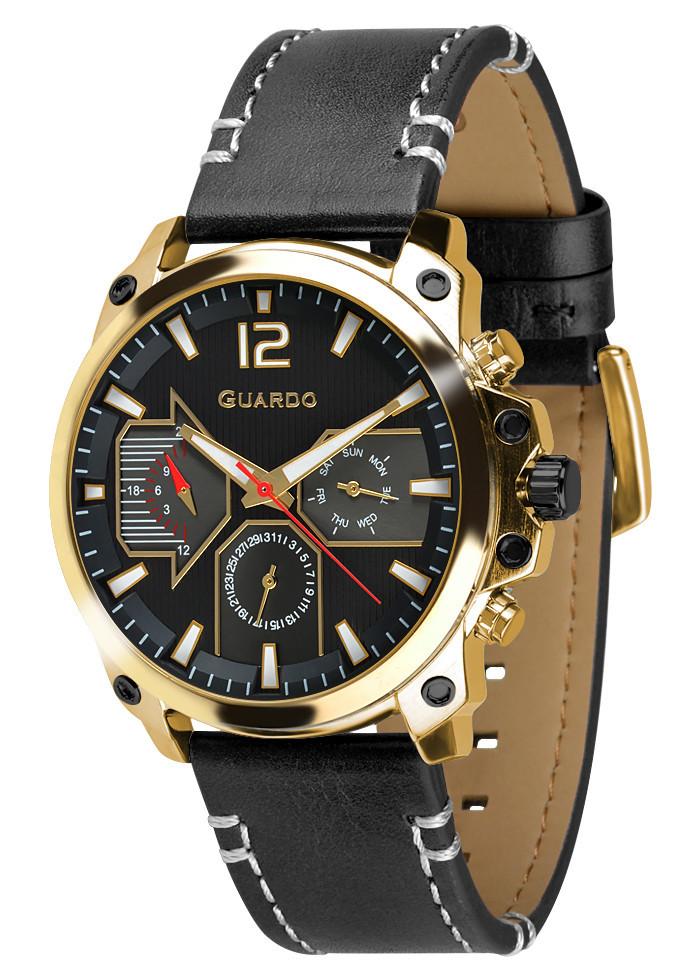 Часы мужские Guardo 011998-3 черно-золотые