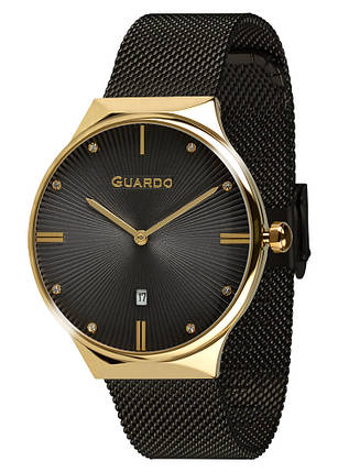 Часы женские Guardo 012473-(1)-5 черно-золотые, фото 2