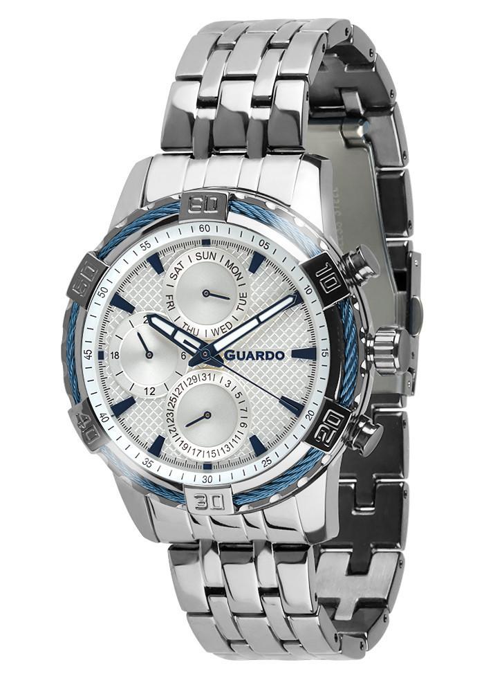 Часы мужские Guardo B01352-(1)-2 серебряные
