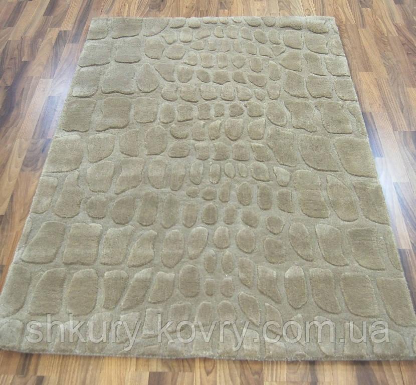Бежевый ковер из шерсти с абстрактным рисунком, ковры с тиснением