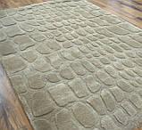 Бежевый ковер из шерсти с абстрактным рисунком, ковры с тиснением, фото 2