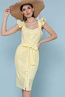 Стильный желтый приталенный  женский сарафан с поясом Люция GLEM
