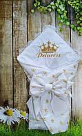 Конверт на выписку  в вышивкой и кружевом для девочек  все сезоны, фото 1