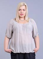 Блуза серая вискоза, в размерах (на 46-56 размеры)