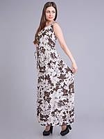 Сарафан женский летний бело-коричневый, 44-52 р-ры