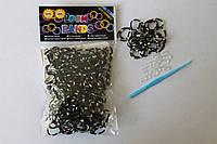 300 штук черно-белых (зебра) резиночек для плетения Loom Bands