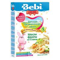 Безмолочная каша Bebi Premium (Беби Премиум)  мюсли фрукты из 5 злаков, 200 г, для активного дня