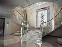 Лестницы, ограждения из гнутого стекла
