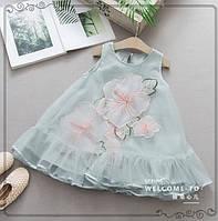 Платье Цветы голубое 3194