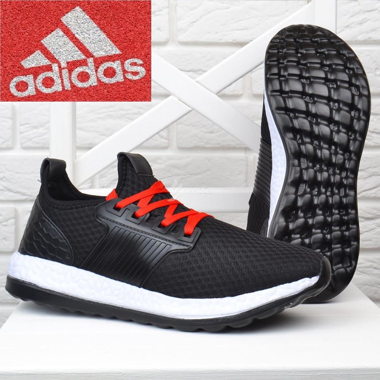 55069a4bea2f7e Кросівки чоловічі дихаючі текстильні чорні з червоним. Копія Adidas Runner  (Адідас) - Интернет
