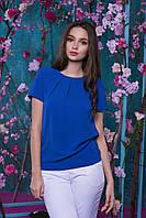 Стильная легкая летняя женская  блуза из креп-шифона бабл (электрик)  Арт-2534/64, фото 1