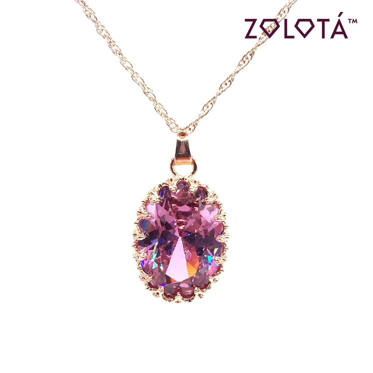 Подвеска на цепочке с розовым фианитом (куб. цирконием), из медицинского золота, в позолоте, ЗЛ00289 (1)
