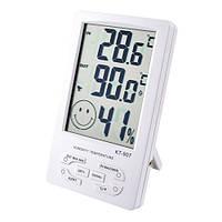 Гигрометр KT-907 термометр часы будильник