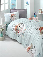 Постельное бельё детского (подросткового) размера Комплект постельного белья для подростков Victoria ранфорс Candy Girl полуторный бирюзовый (код