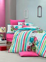 Постельное бельё детского (подросткового) размера Комплект постельного белья для подростков Victoria ранфорс Cute Butterfly полуторный бирюзовый (код