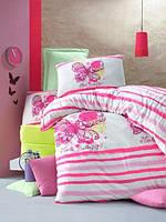Постельное бельё детского (подросткового) размера Комплект постельного белья для подростков Victoria ранфорс Cute Butterfly полуторный розовый (код