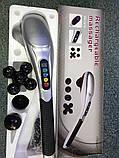 Ручной массажер для тела проводной Charge massage rod с дисплеем и с 6 насадками, фото 2