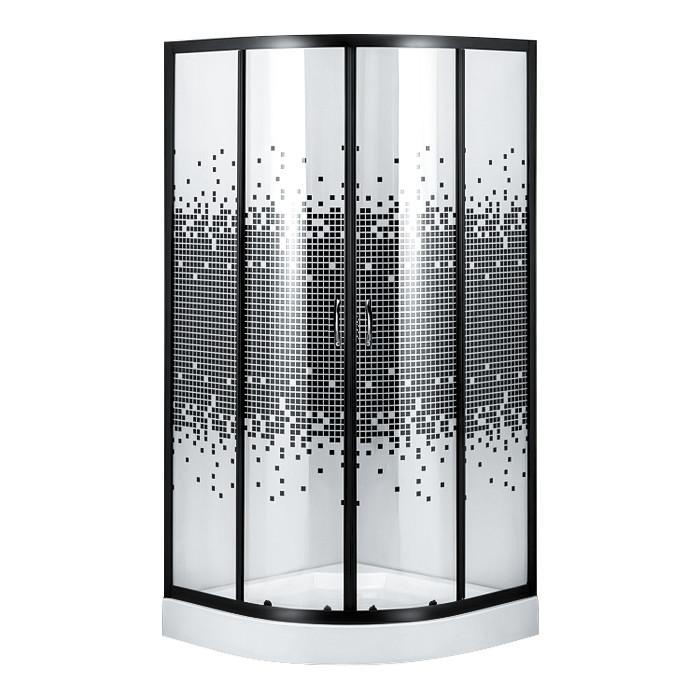 S-90/15(3), душевой угол Sansa, рама черная, стекло прозрачное-мозаик