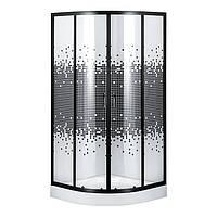S-90/15(3), душова кабіна Sansa, рама черная, скло прозоре-мозаїк