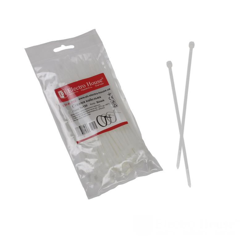 ElectroHouse Стяжка кабельная белая 3x150