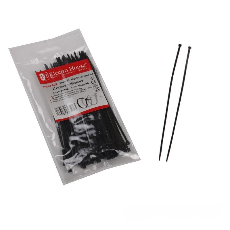 ElectroHouse Стяжка кабельная чёрная 3x150